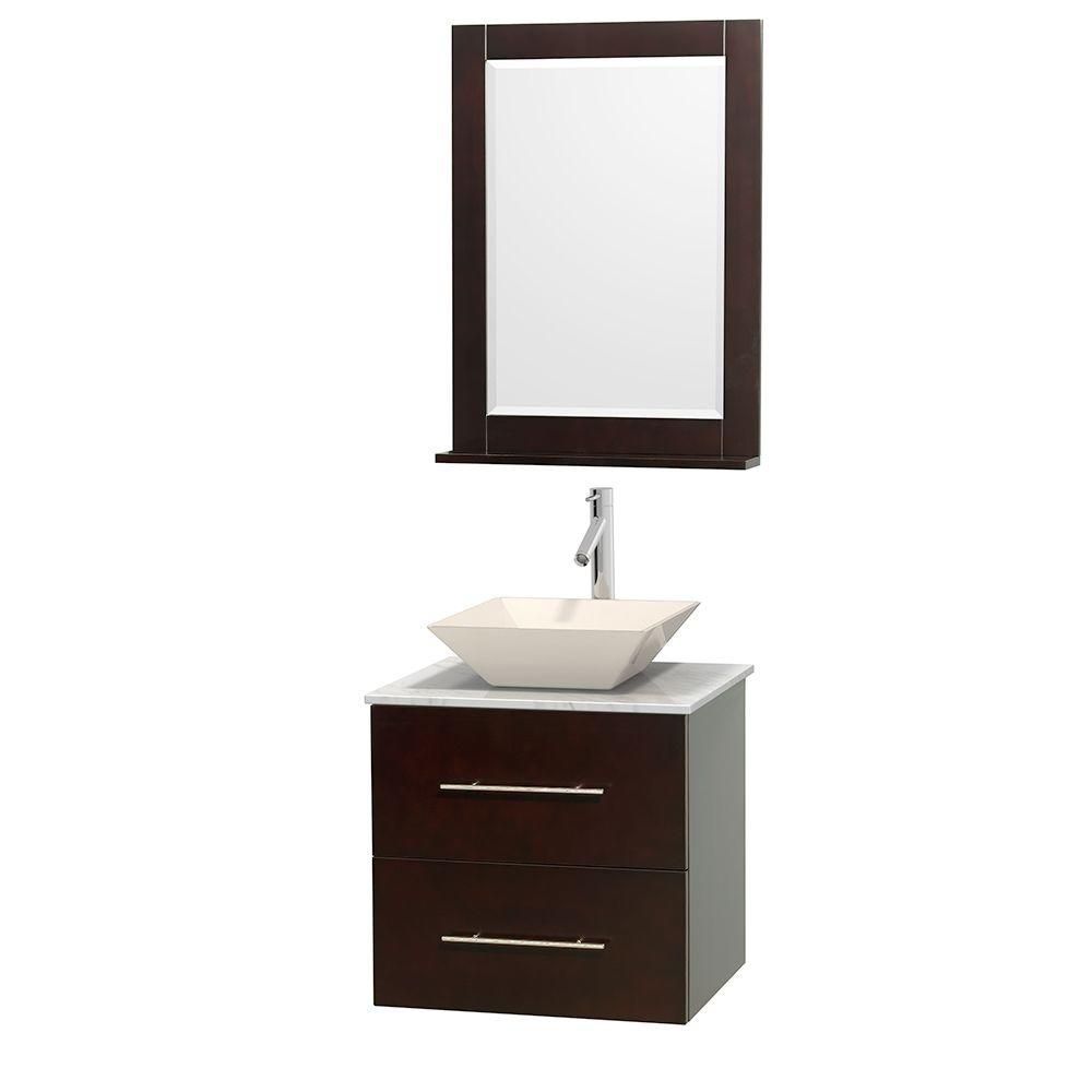 Centra 24-inch W Vanity in Espresso with White Top with Bone Basin and Mirror