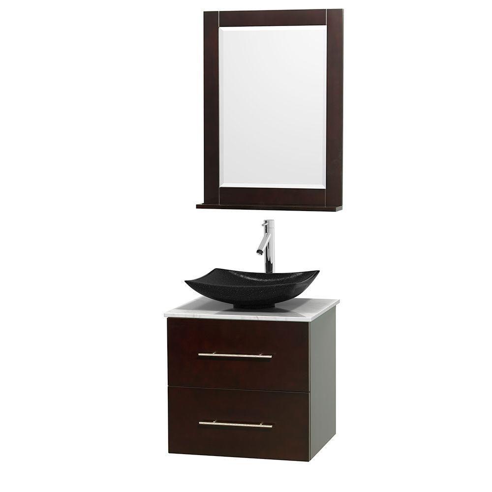 Meuble simple Centra 24 po. espresso, comptoir blanc Carrare, lavabo granit noir, miroir 24 po.