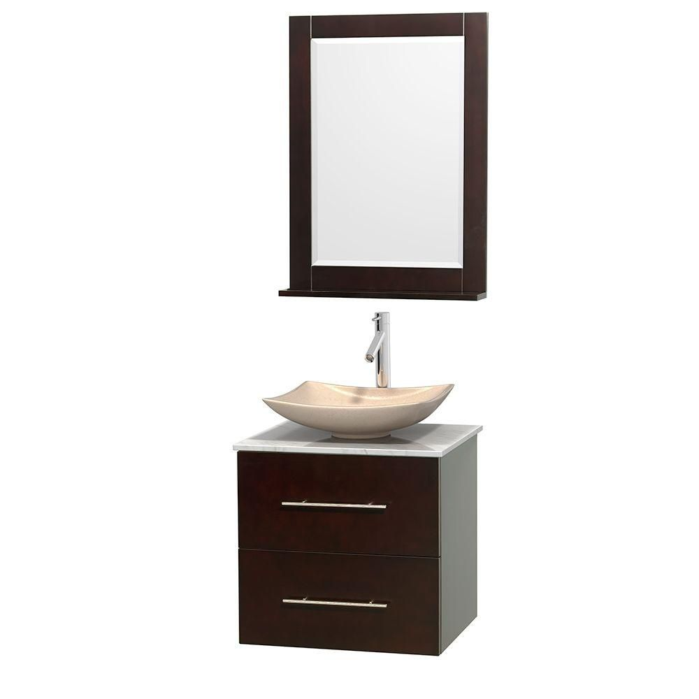 Centra 24-inch W Vanity in Espresso with White Top with Ivory Basin and Mirror