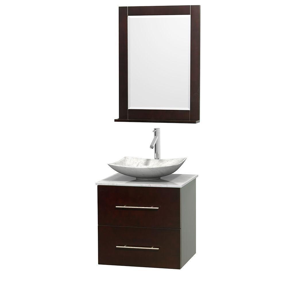 Meuble simple Centra 24 po. espresso, comptoir blanc Carrare, lavabo blanc Carrare, miroir 24 po.