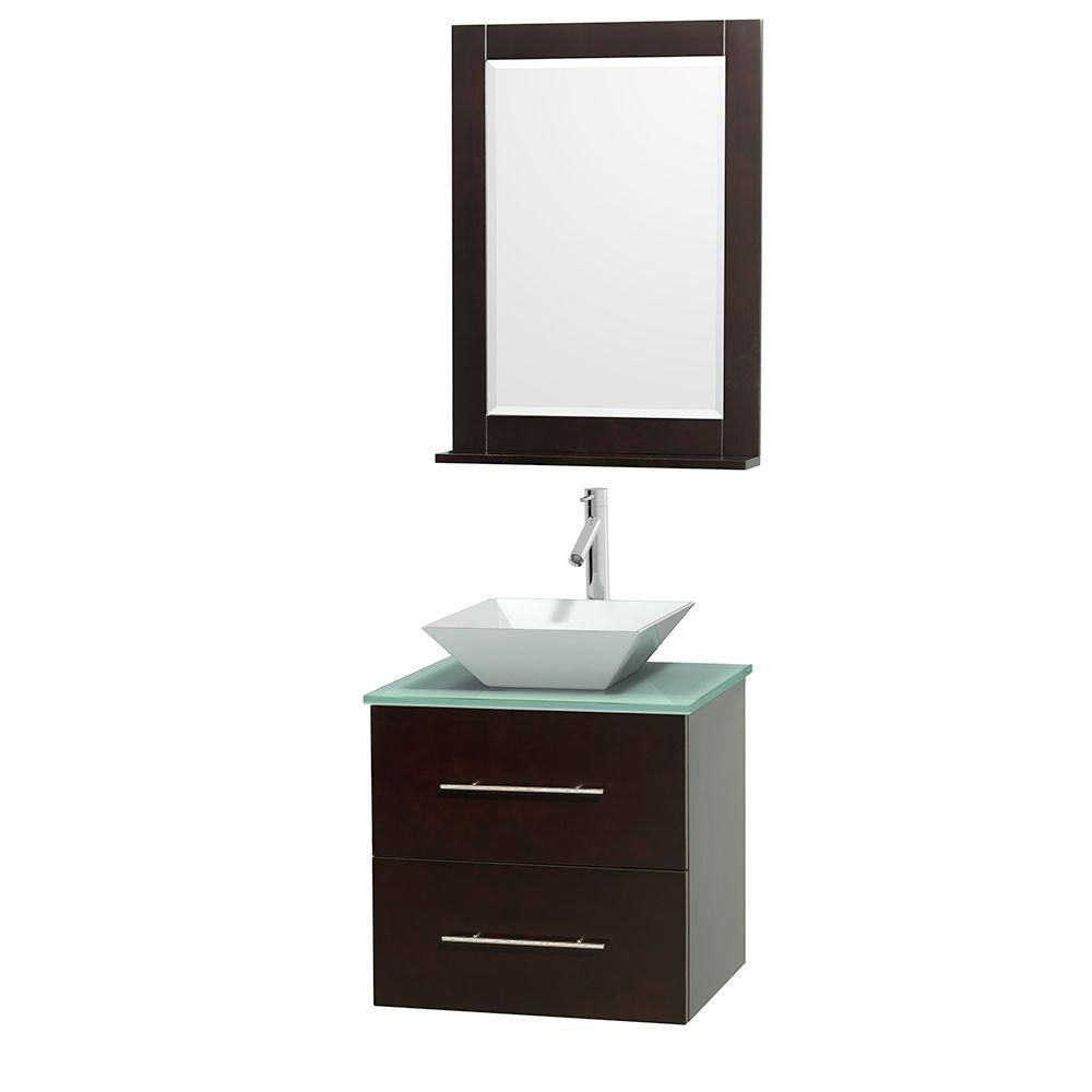 Wyndham Collection Centra 24-inch W 1-Drawer 1-Door Wall Mounted Vanity in Brown With Top in Green With Mirror