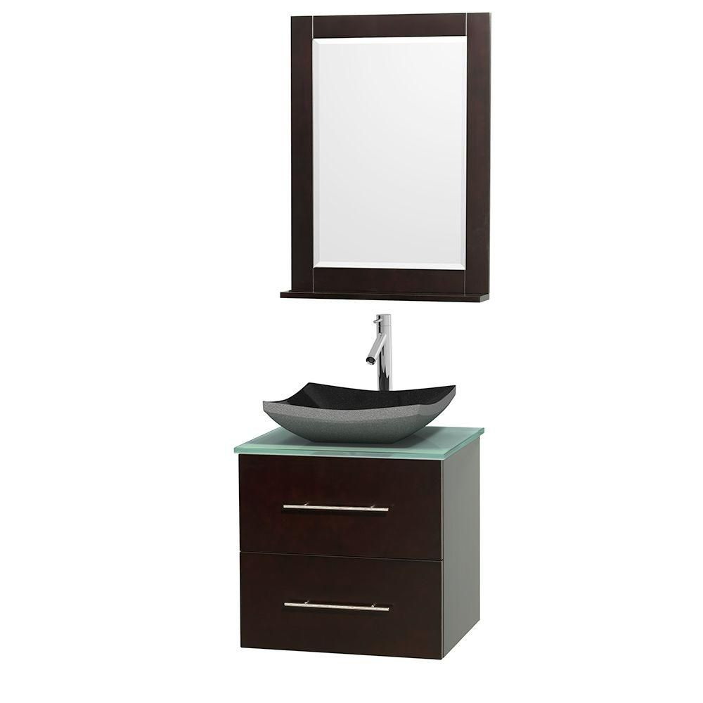 Centra 24-inch W Vanity in Espresso with Glass Top with Black Basin and Mirror
