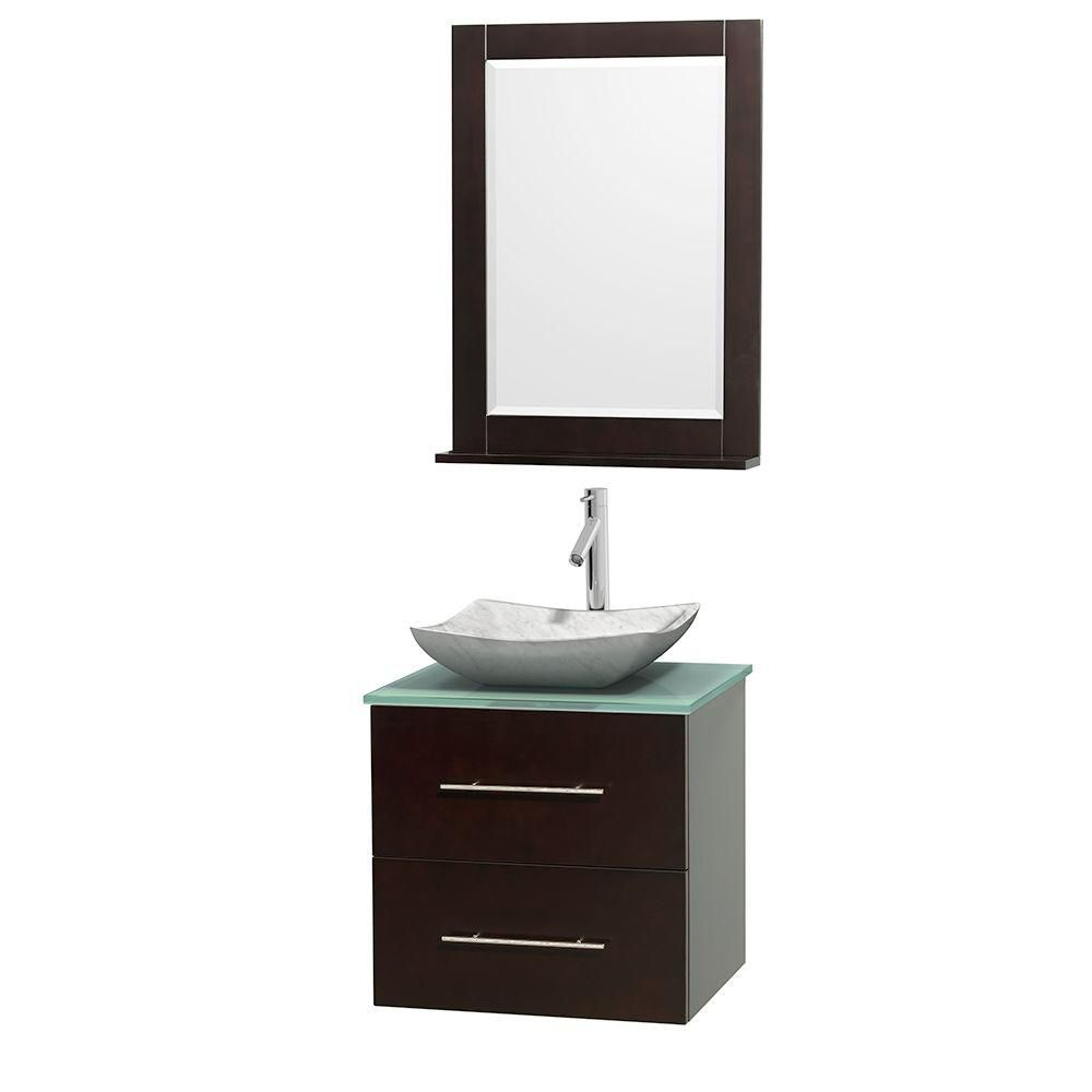 Centra 24-inch W Vanity in Espresso with Glass Top with White Basin and Mirror