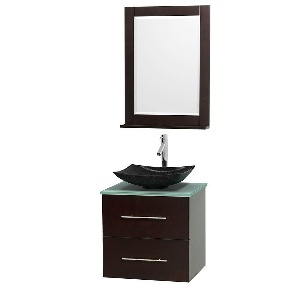 Meuble simple Centra 24 po. espresso, comptoir verre vert, lavabo granit noir, miroir 24 po.