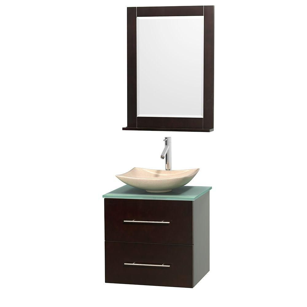 Centra 24-inch W Vanity in Espresso with Glass Top with Ivory Basin and Mirror