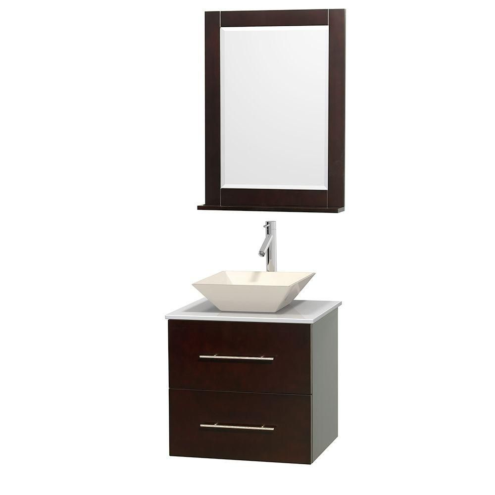 Centra 24-inch W Vanity in Espresso with Solid Top with Bone Basin and Mirror