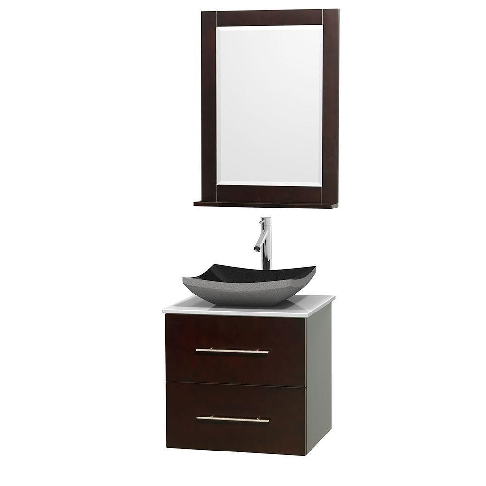 Meuble simple Centra 24 po. espresso, comptoir solide, lavabo granit noir, miroir 24 po.
