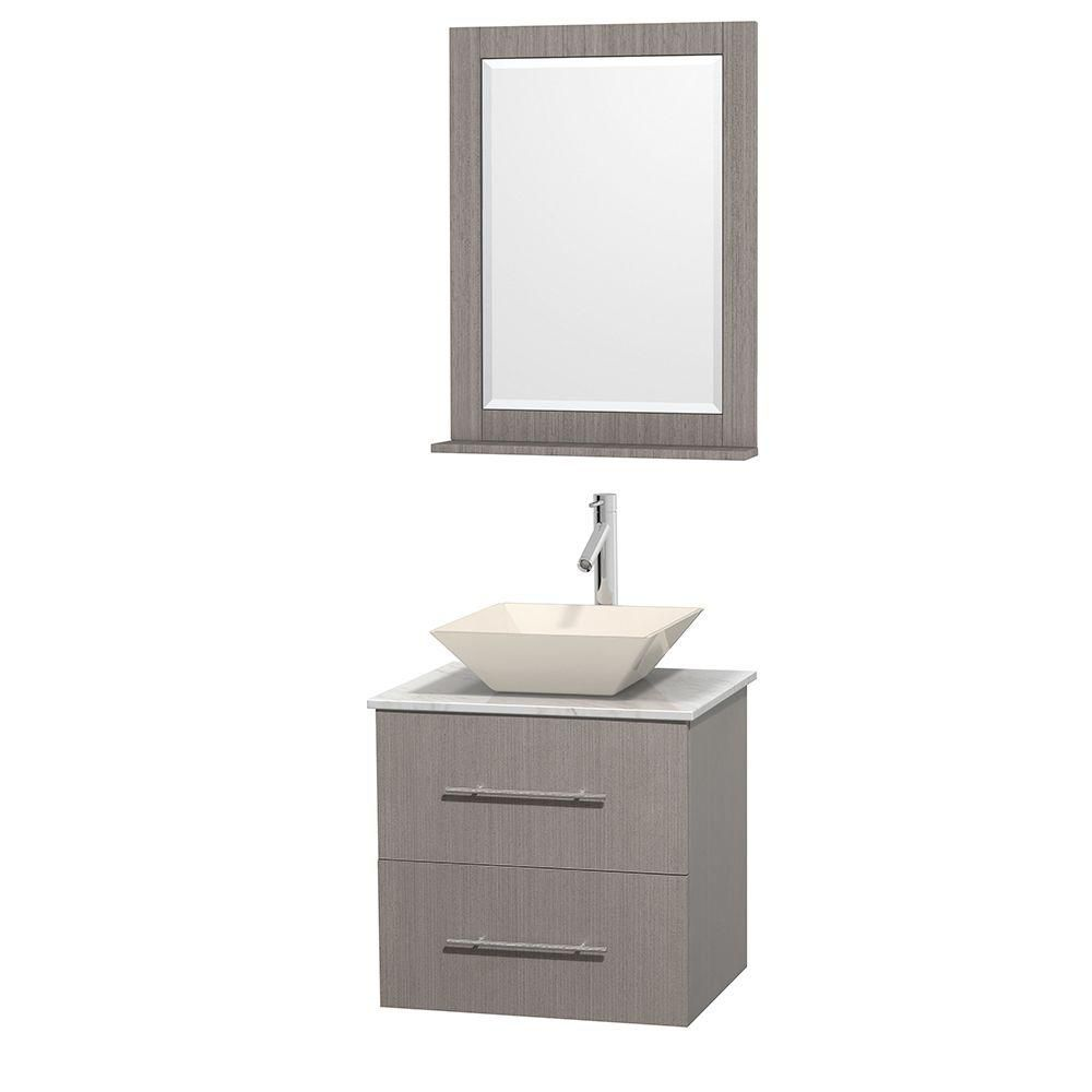 Centra 24-inch W Vanity in Grey Oak with White Top with Bone Basin and Mirror