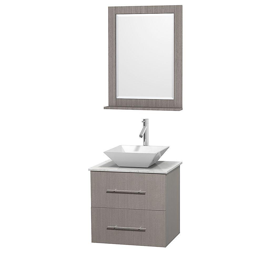 Meuble unique Centra 24 po. chêne gris, comptoir blanc Carrare, lavabo porcelaine blanche, miroir 24 po.
