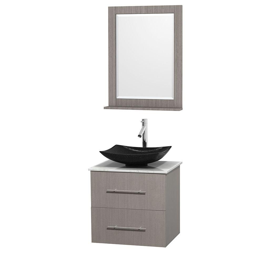 Centra 24-inch W Vanity in Grey Oak with White Top with Black Basin and Mirror