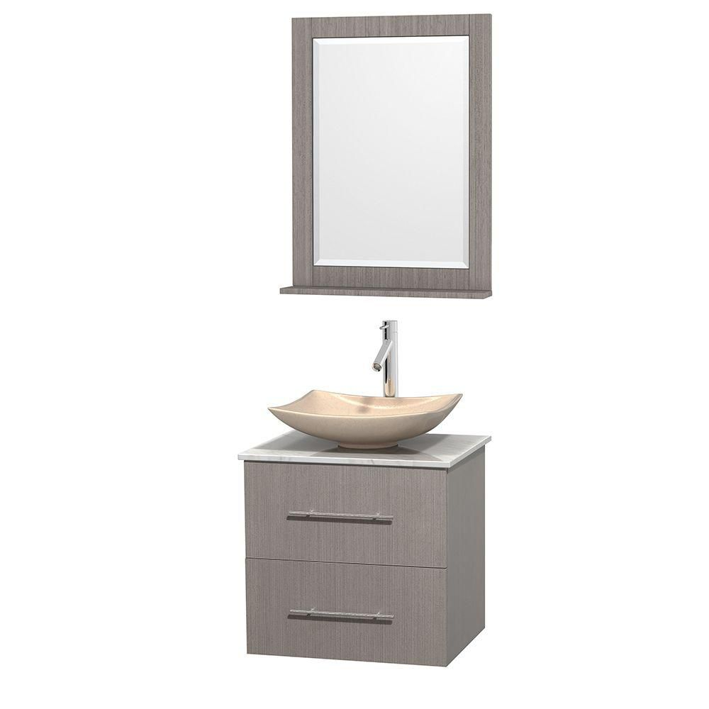 Centra 24-inch W Vanity in Grey Oak with White Top with Ivory Basin and Mirror