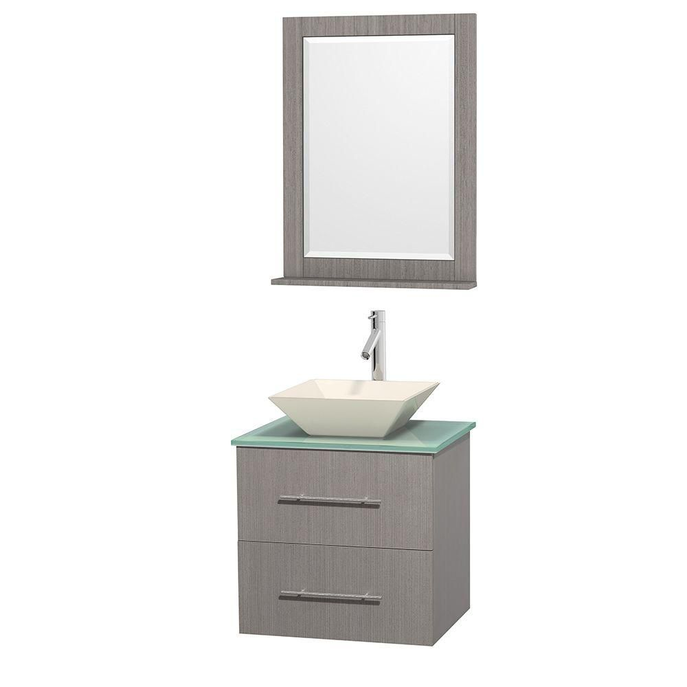 Centra 24-inch W Vanity in Grey Oak with Glass Top with Bone Basin and Mirror