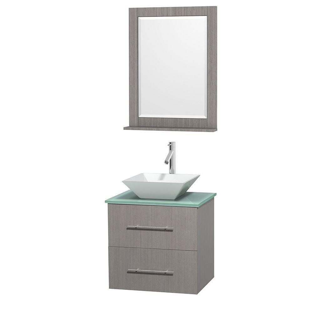 Meuble unique Centra 24 po. chêne gris, comptoir verre vert, lavabo porcelaine blanche, miroir 24...