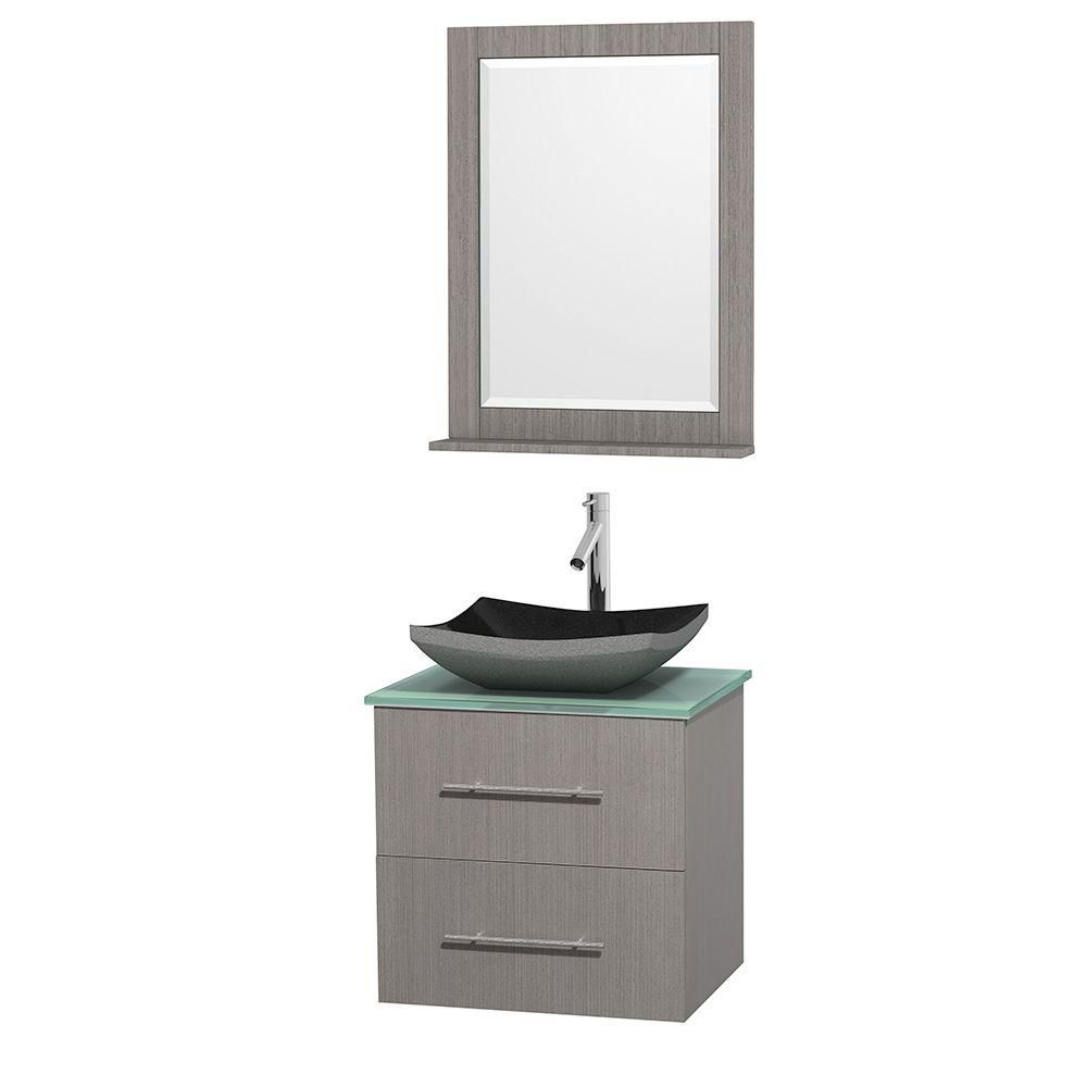 Meuble simple Centra 24 po. chêne gris, comptoir verre vert, lavabo granit noir, miroir 24 po.