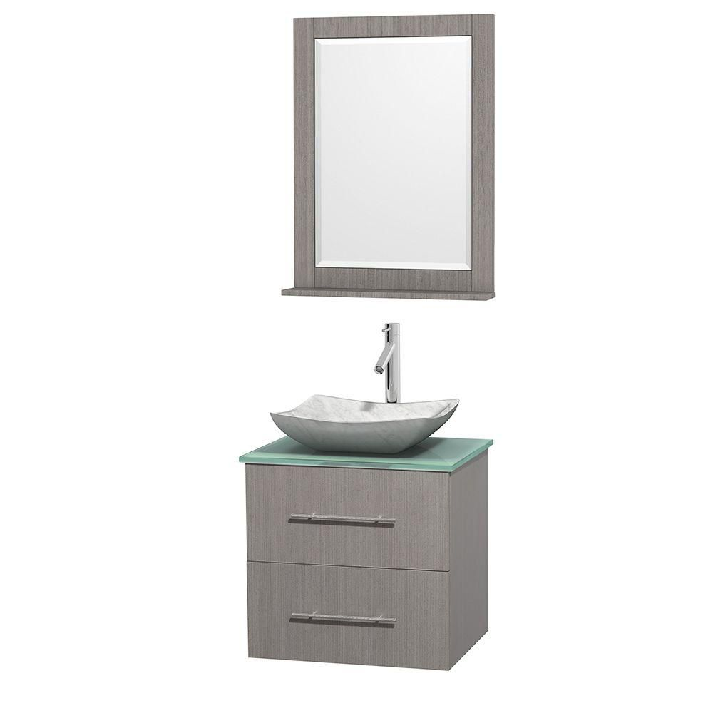 Centra 24-inch W Vanity in Grey Oak with Glass Top with White Basin and Mirror