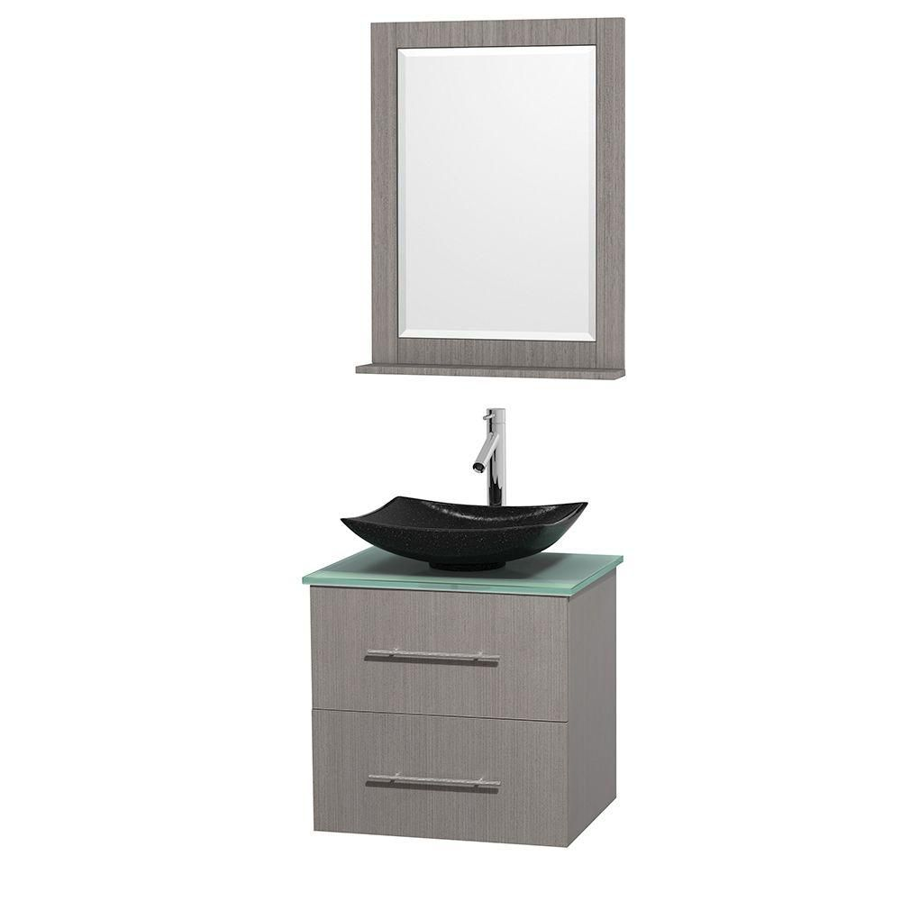 Centra 24-inch W 1-Drawer 1-Door Wall Mounted Vanity in Grey With Top in Green With Mirror