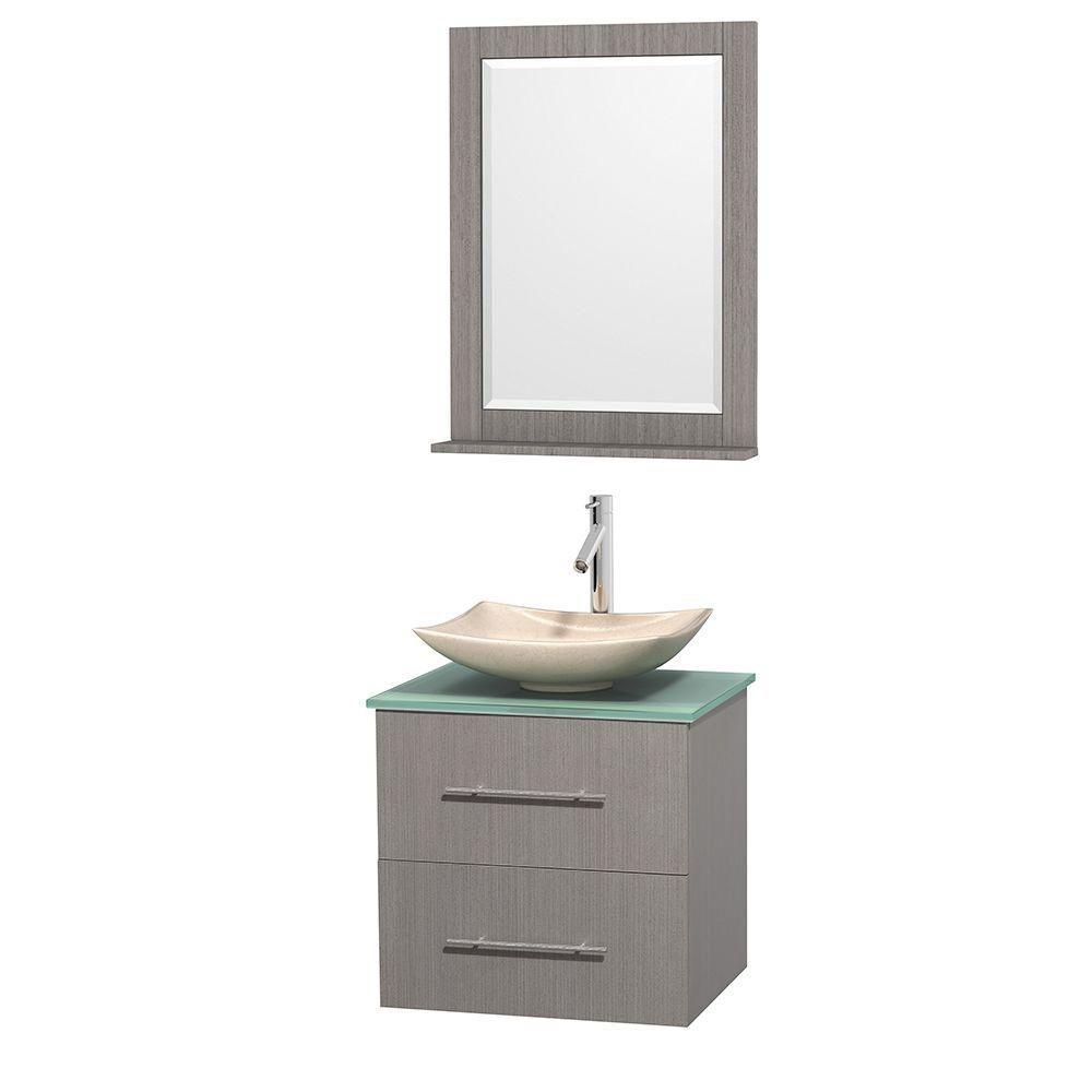 Meuble simple Centra 24 po. chêne gris, comptoir verre vert, lavabo ivoire, miroir 24 po.