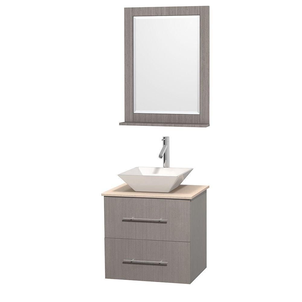 Wyndham collection meuble unique centra 24 po ch ne gris for Meuble lavabo miroir