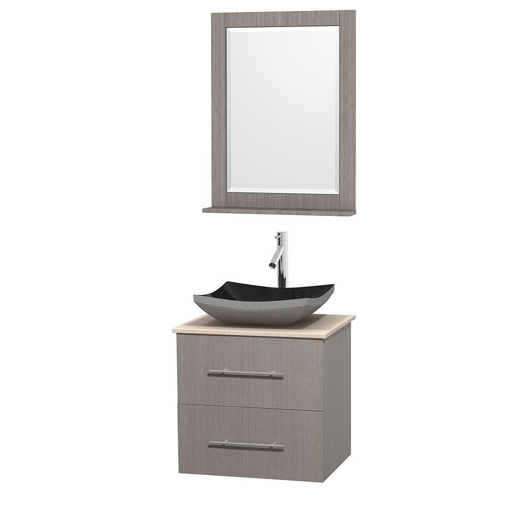 Wyndham Collection Centra 24-inch W 1-Drawer 1-Door Wall Mounted Vanity in Grey With Marble Top in Beige Tan
