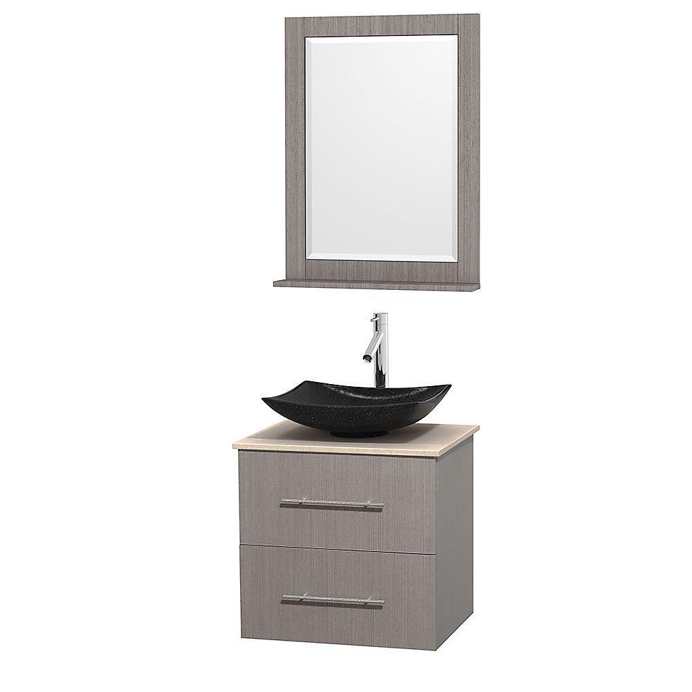 Meuble simple Centra 24 po. chêne gris, comptoir marbre ivoire, lavabo granit noir, miroir 24 po.