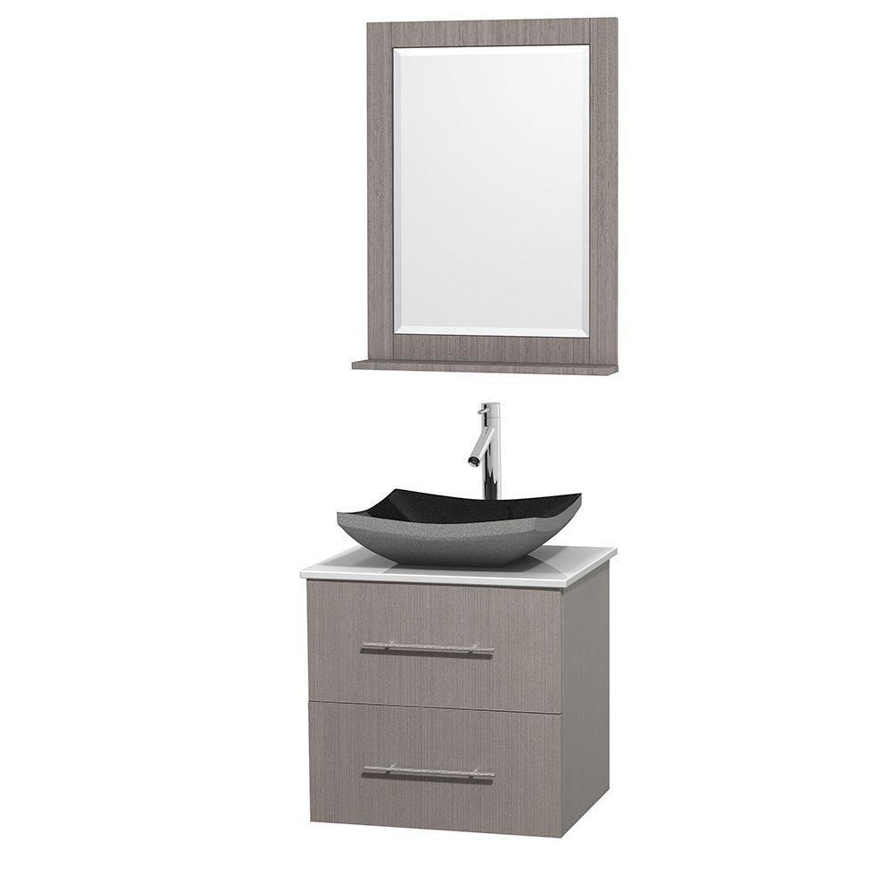 Meuble simple Centra 24 po. chêne gris, comptoir solide, lavabo granit noir, miroir 24 po.