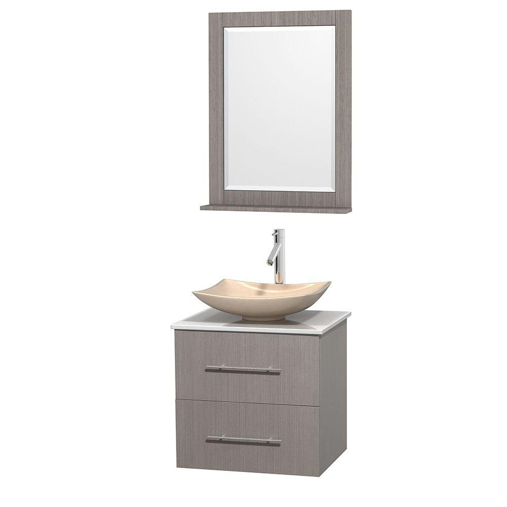 Centra 24-inch W Vanity in Grey Oak with Solid Top with Ivory Basin and Mirror