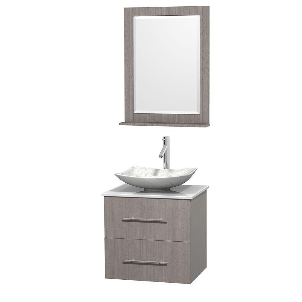 Meuble simple Centra 24 po. chêne gris, comptoir solide, lavabo blanc Carrare, miroir 24 po.