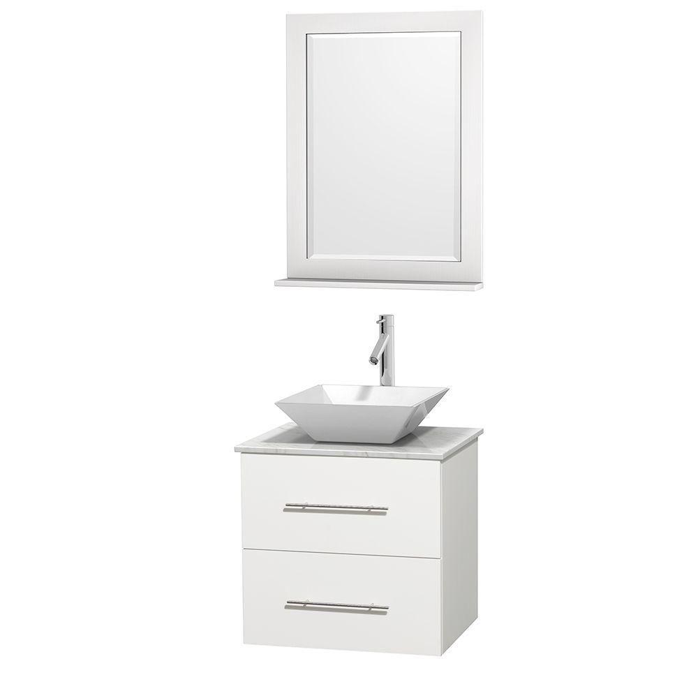Meuble unique Centra 24 po. blanc, comptoir blanc Carrare, lavabo porcelaine blanche, miroir 24 p...