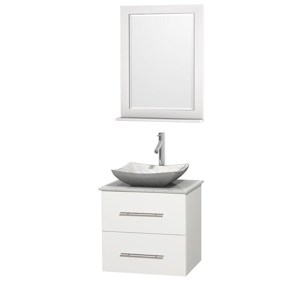 Meuble simple Centra 24 po. blanc, comptoir blanc Carrare, lavabo blanc Carrare, miroir 24 po.