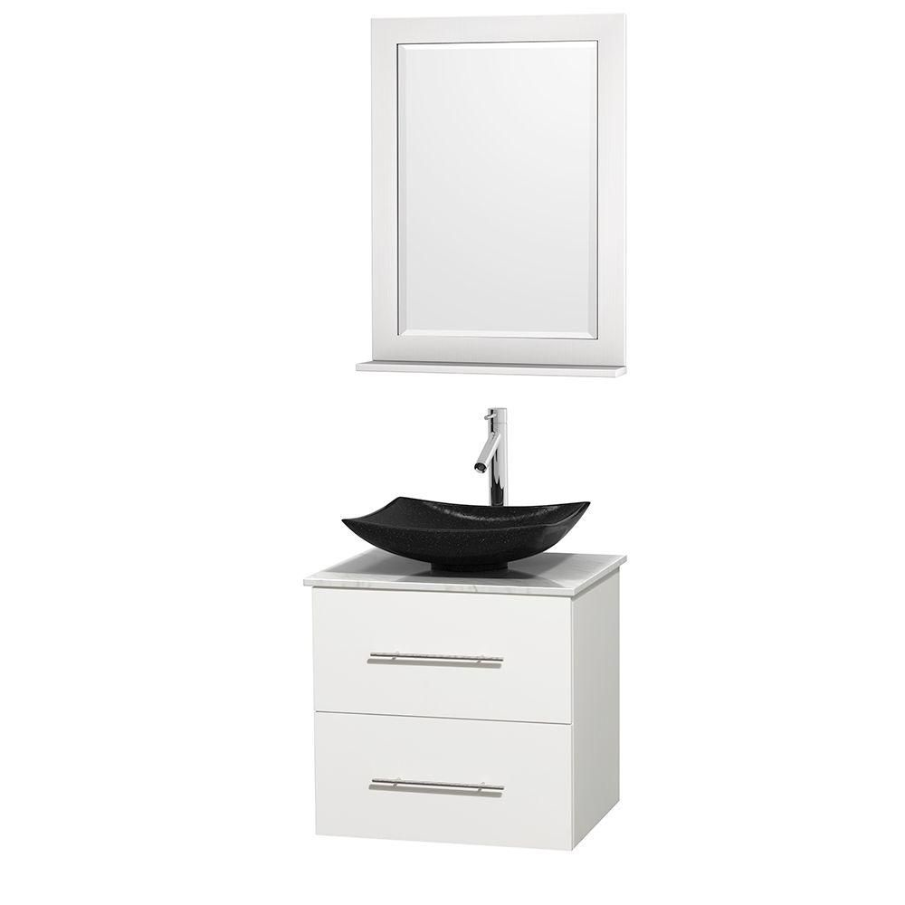 Centra 24-inch W Vanity in White with White Top with Black Basin and Mirror