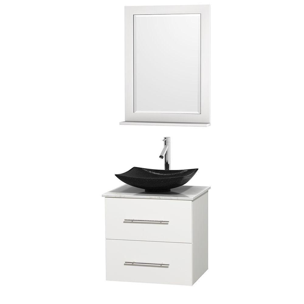 Meuble simple Centra 24 po. blanc, comptoir blanc Carrare, lavabo granit noir, miroir 24 po.