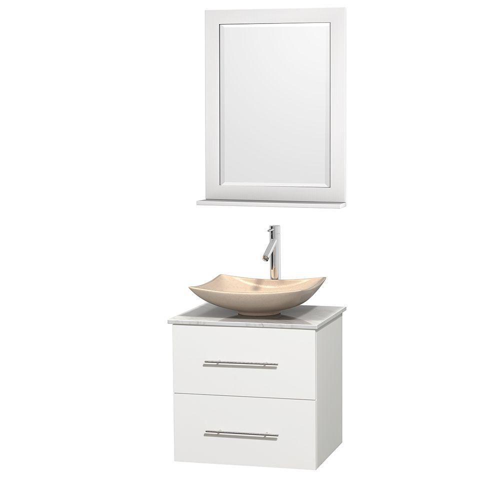 Meuble simple Centra 24 po. blanc, comptoir blanc Carrare, lavabo ivoire, miroir 24 po.