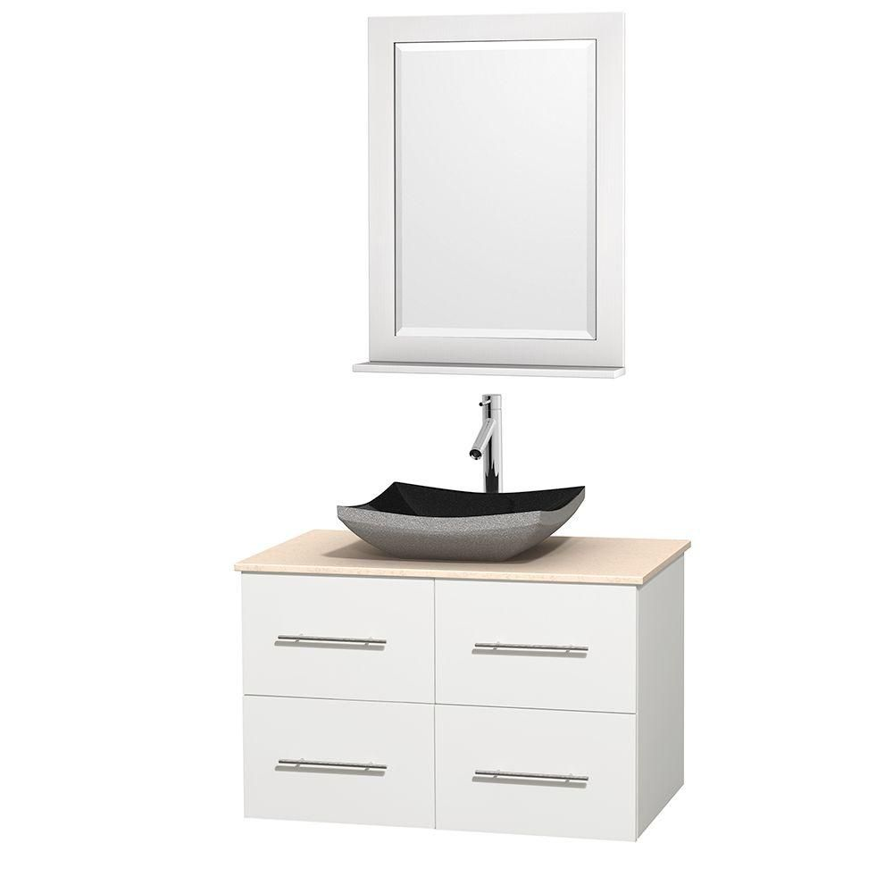 Meuble simple Centra 36 po. blanc, comptoir marbre ivoire, lavabo granit noir, miroir 24 po.