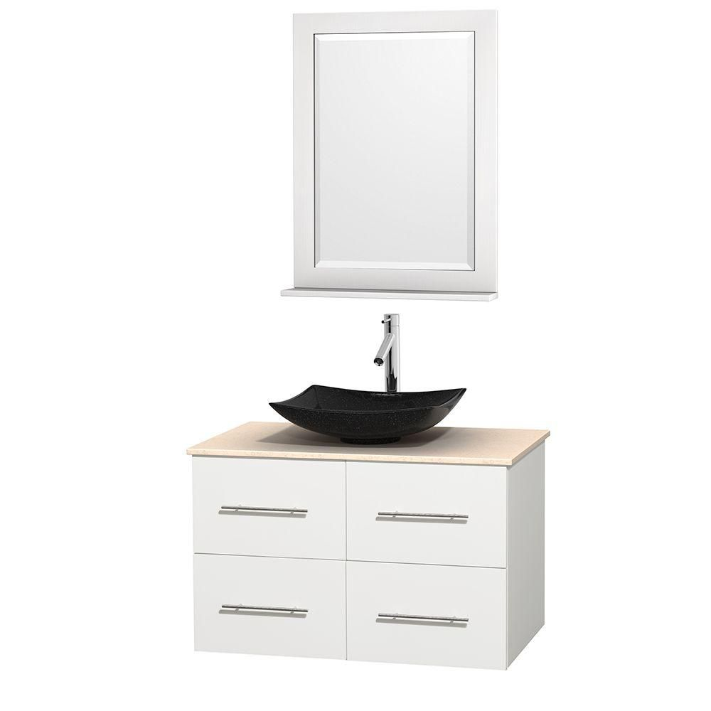 Centra 36-inch W Vanity in White with Marble Top in Ivory with Black Basin and Mirror