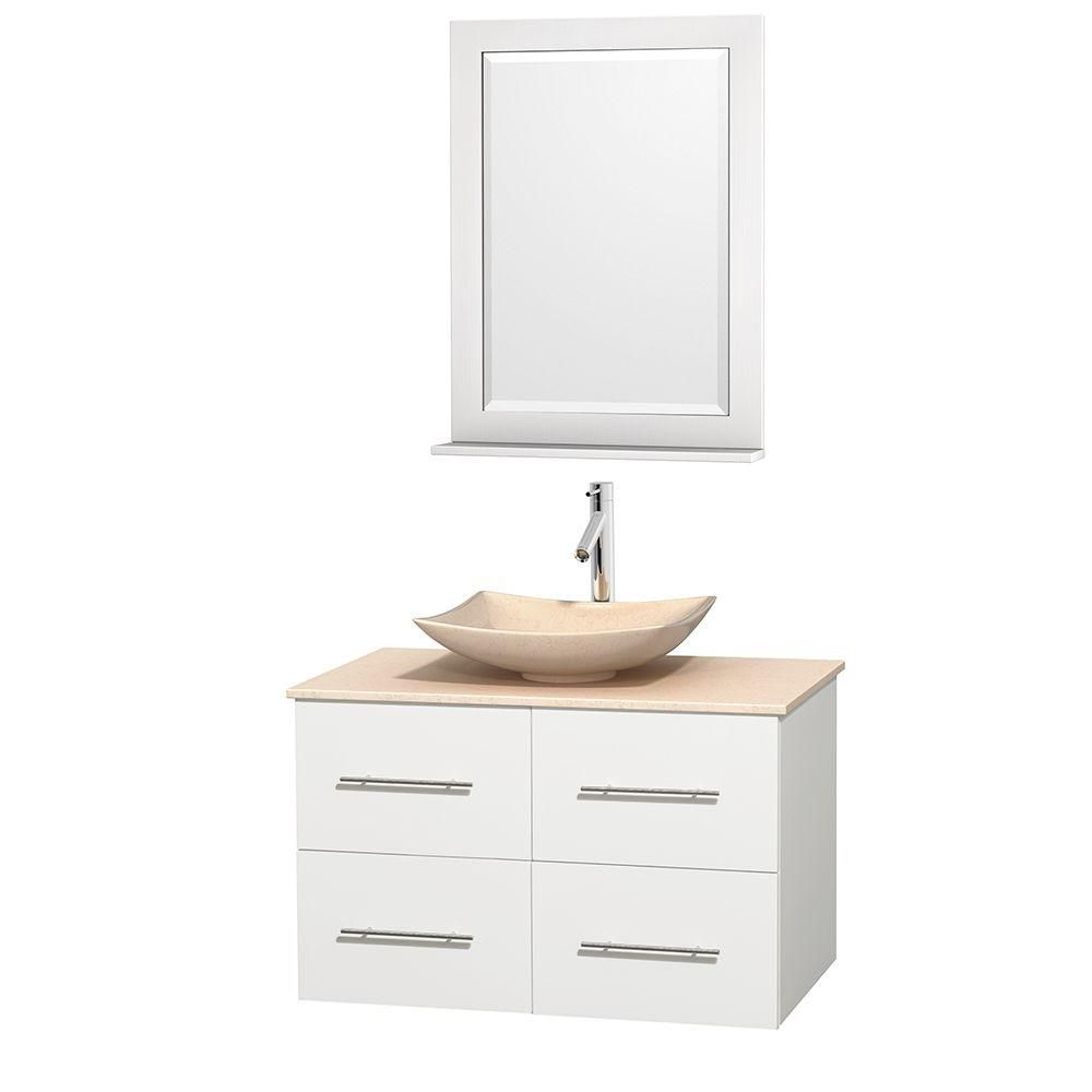 Centra 36-inch W Vanity in White with Marble Top in Ivory with Ivory Basin and Mirror