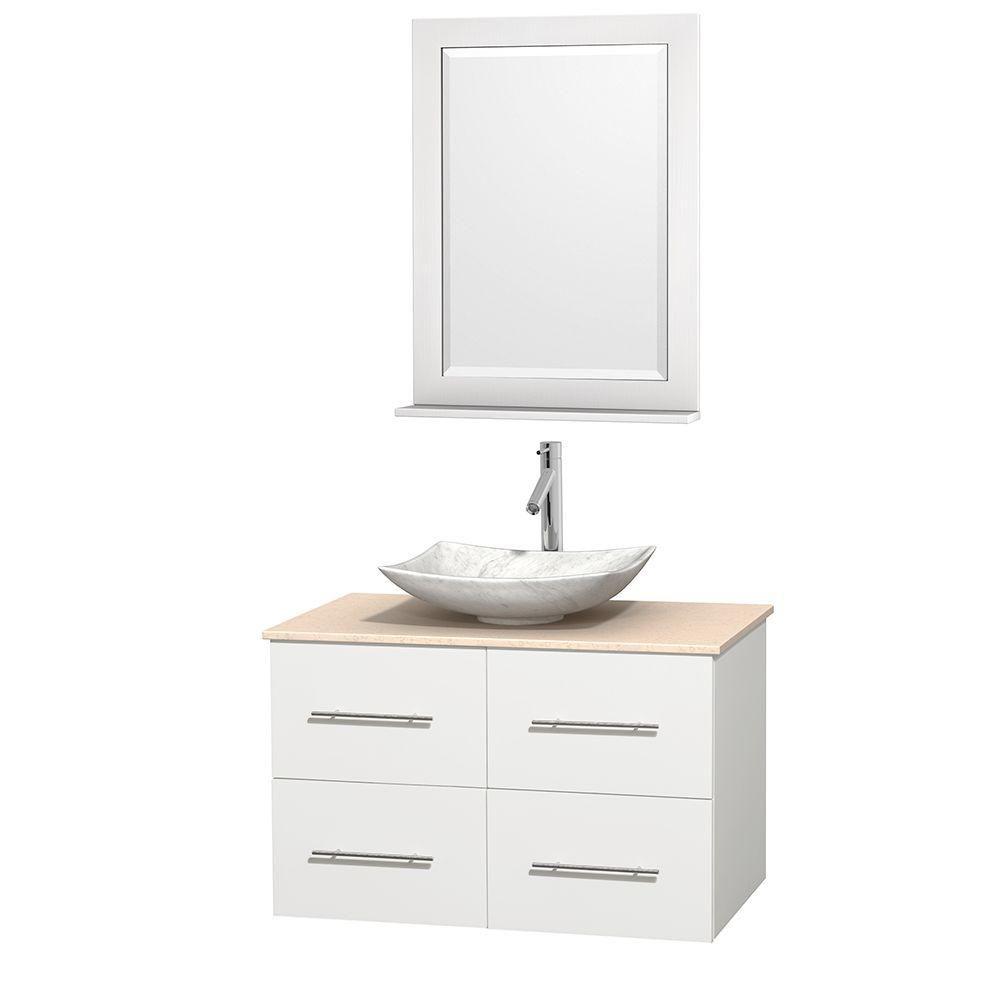 Meuble simple Centra 36 po. blanc, comptoir marbre ivoire, lavabo blanc Carrare, miroir 24 po.