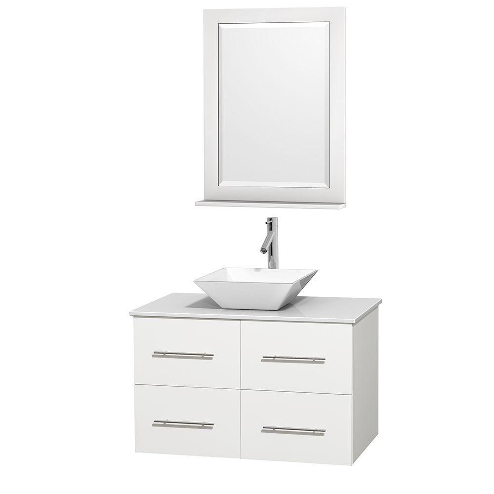 Meuble unique Centra 36 po. blanc, comptoir solide, lavabo porcelaine blanche, miroir 24 po.