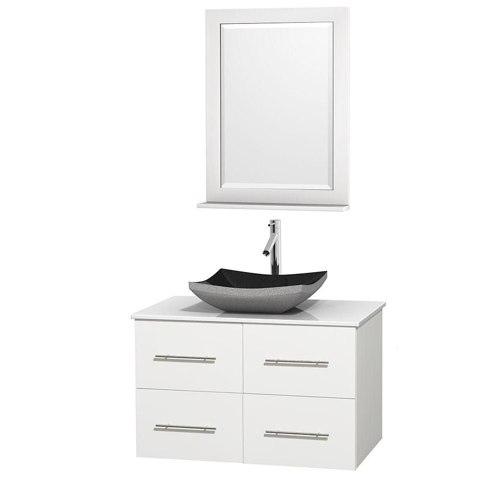 Centra 36-inch W Vanity in White with Solid Top with Black Basin and Mirror