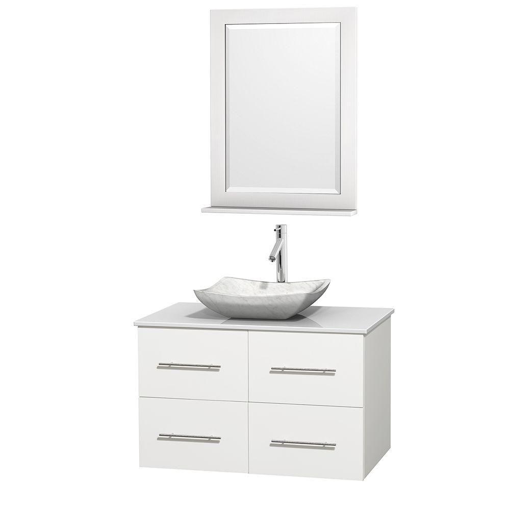 Wyndham Collection Meuble simple Centra 36 po. blanc, comptoir solide, lavabo blanc Carrare, miroir 24 po.