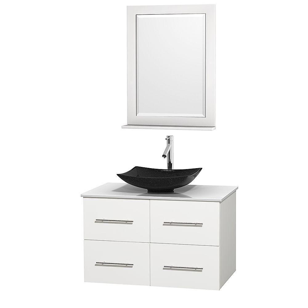 Meuble simple Centra 36 po. blanc, comptoir solide, lavabo granit noir, miroir 24 po.