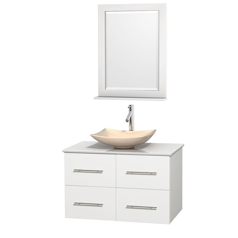 Centra 36-inch W Vanity in White with Solid Top with Ivory Basin and Mirror
