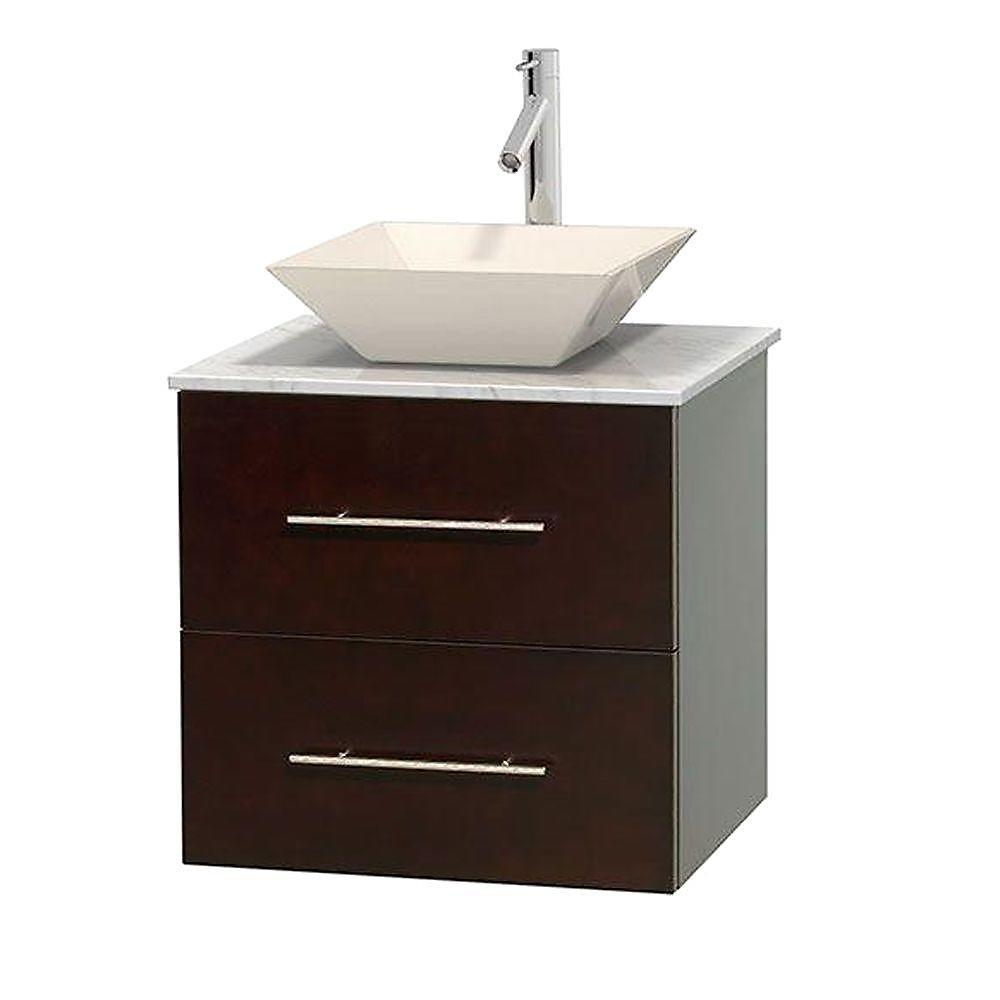 Meuble unique Centra 24 po. espresso, comptoir blanc Carrare, lavabo porcelaine bone sans miroir
