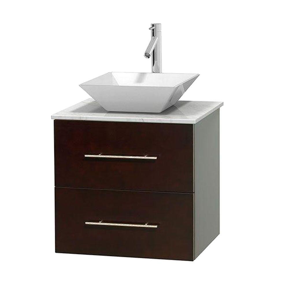 Meuble unique Centra 24 po. espresso, comptoir blanc Carrare, lavabo porcelaine blanche sans miro...