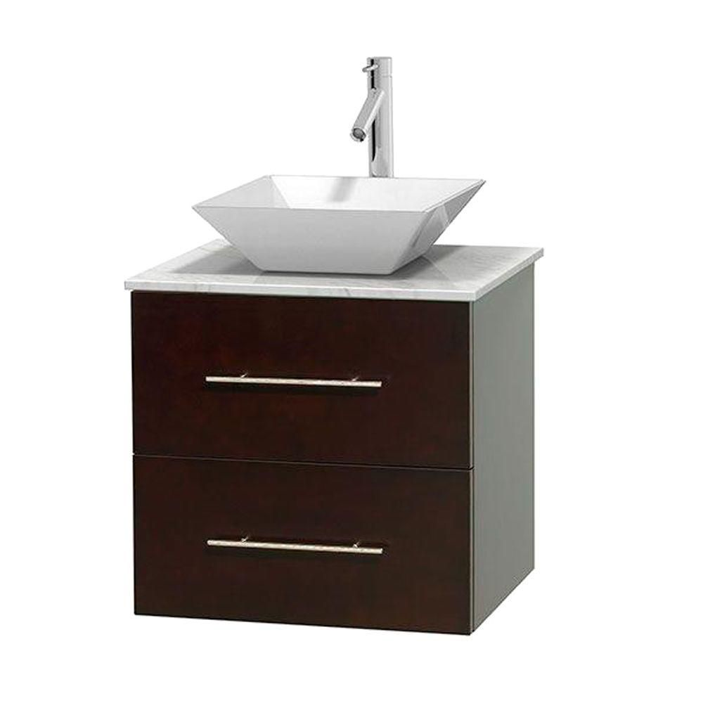 Wyndham Collection Centra 24-inch W 1-Drawer 1-Door Wall Mounted Vanity in Brown With Marble Top in White