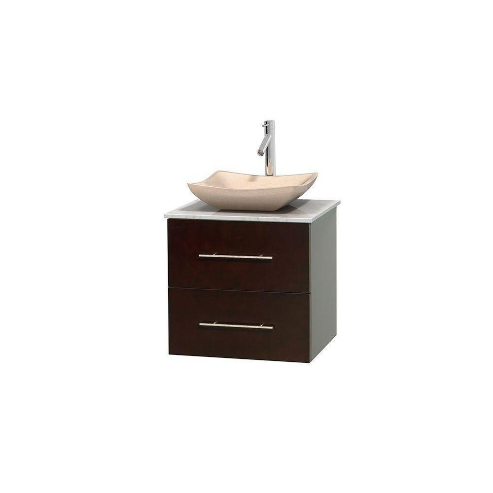 Wyndham Collection Meuble simple Centra 24 po. espresso, comptoir blanc Carrare, lavabo ivoire, sans miroir