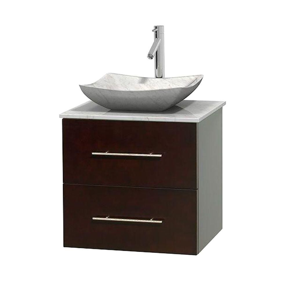 Centra 24-inch W Vanity in Espresso with White Top with White Basin