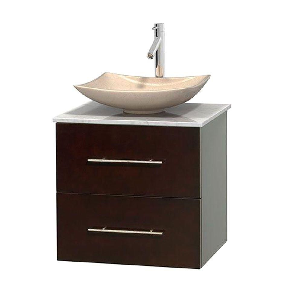 Centra 24-inch W Vanity in Espresso with White Top with Ivory Basin