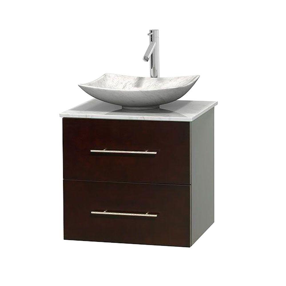 Meuble simple Centra 24 po. espresso, comptoir blanc Carrare, lavabo blanc Carrare, sans miroir
