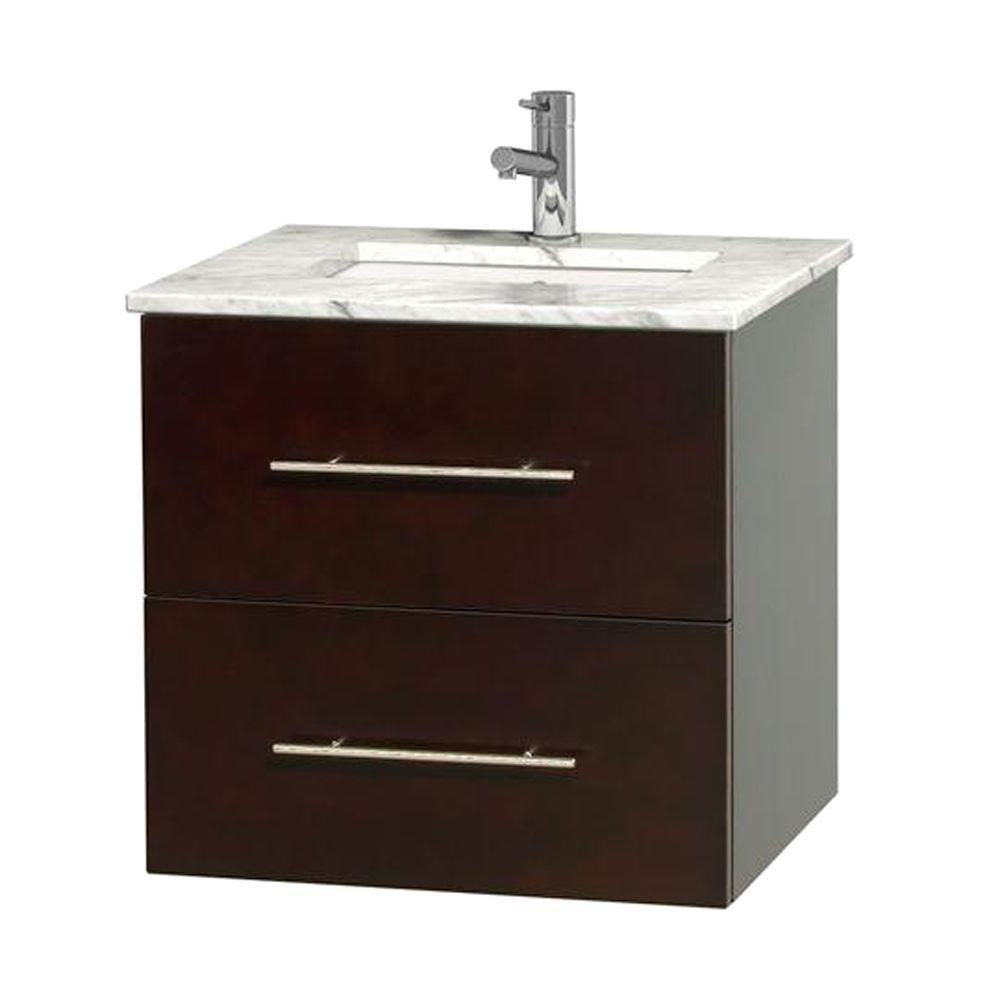 Centra 24-inch W Vanity in Espresso with White Top with Square Basin