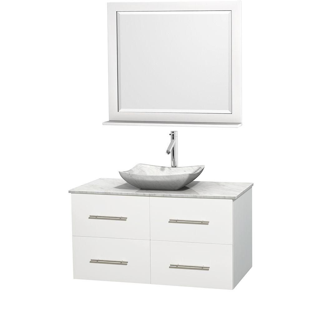 Wyndham Collection Centra 42-inch W 2-Drawer 2-Door Wall Mounted Vanity in White With Marble Top in White With Mirror